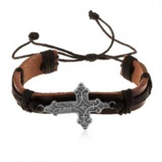Kožený náramok hnedej farby s čiernymi šnúrkami, ozdobne vyrezávaný kríž