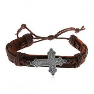 Kožený náramok hnedej farby so šnúrkami, ozdobne vyrezávaný veľký kríž