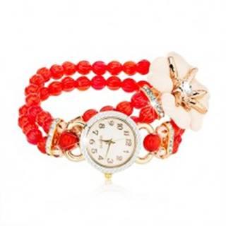 Náramkové hodinky z červených korálok, ciferník so zirkónmi, biely kvet so zirkónom