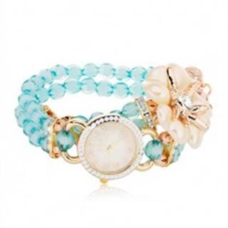 Náramkové hodinky z modrých korálok, ciferník so zirkónmi, biely kvet