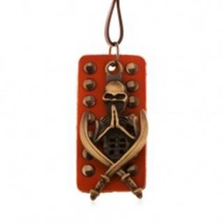 Nastaviteľný kožený náhrdelník - patinovaná kostra s mečmi, vybíjaný pás kože