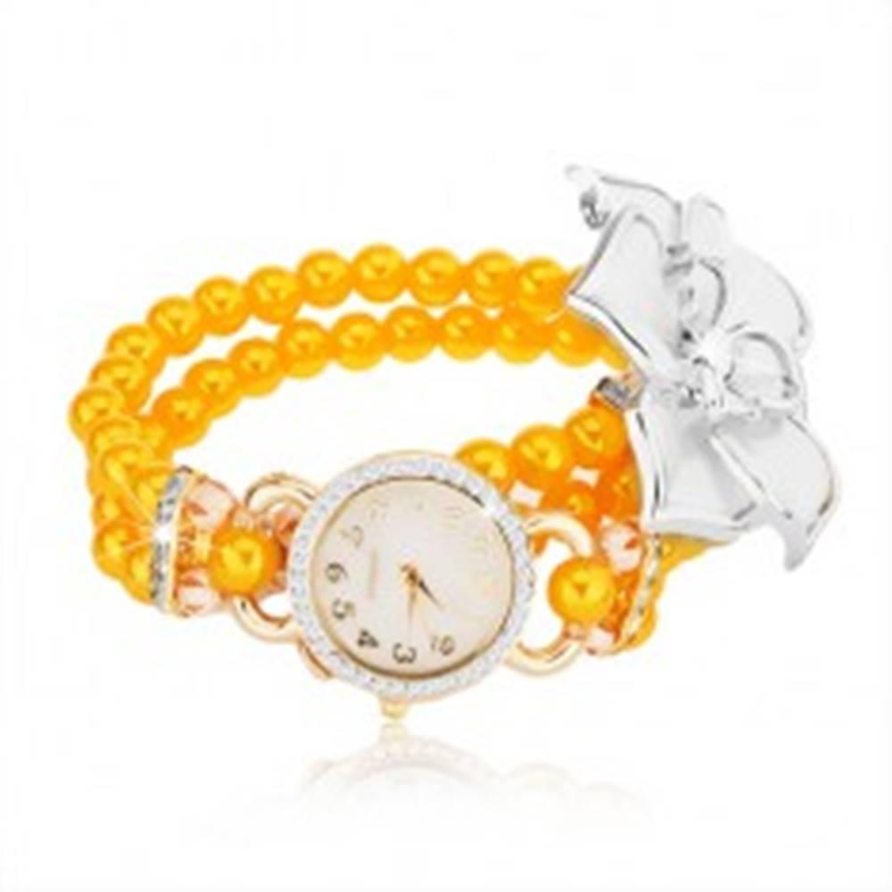 Šperky eshop Hodinky so žltým korálkovým náramkom, biely kvet, ciferník so zirkónmi