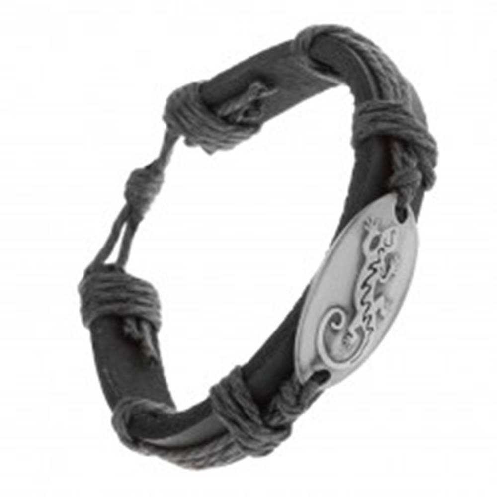 Šperky eshop Náramok z čiernej syntetickej kože a šnúrok, lesklý ovál s jaštericou