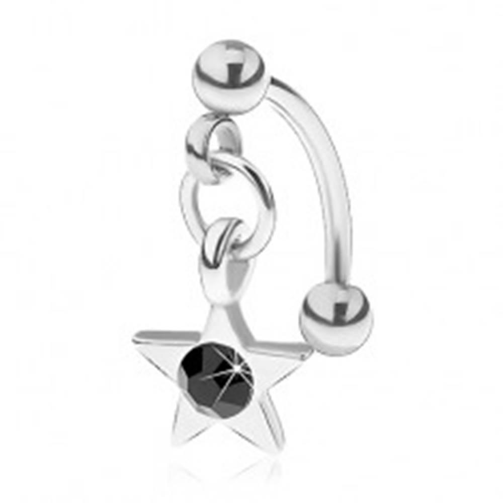 Šperky eshop Piercing do obočia z chirurgickej ocele, päťcípa hviezdička s čiernym zirkónom