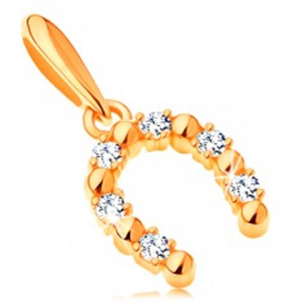 Šperky eshop Prívesok v žltom 14K zlate - podkovička pre šťastie so zirkónmi čírej farby