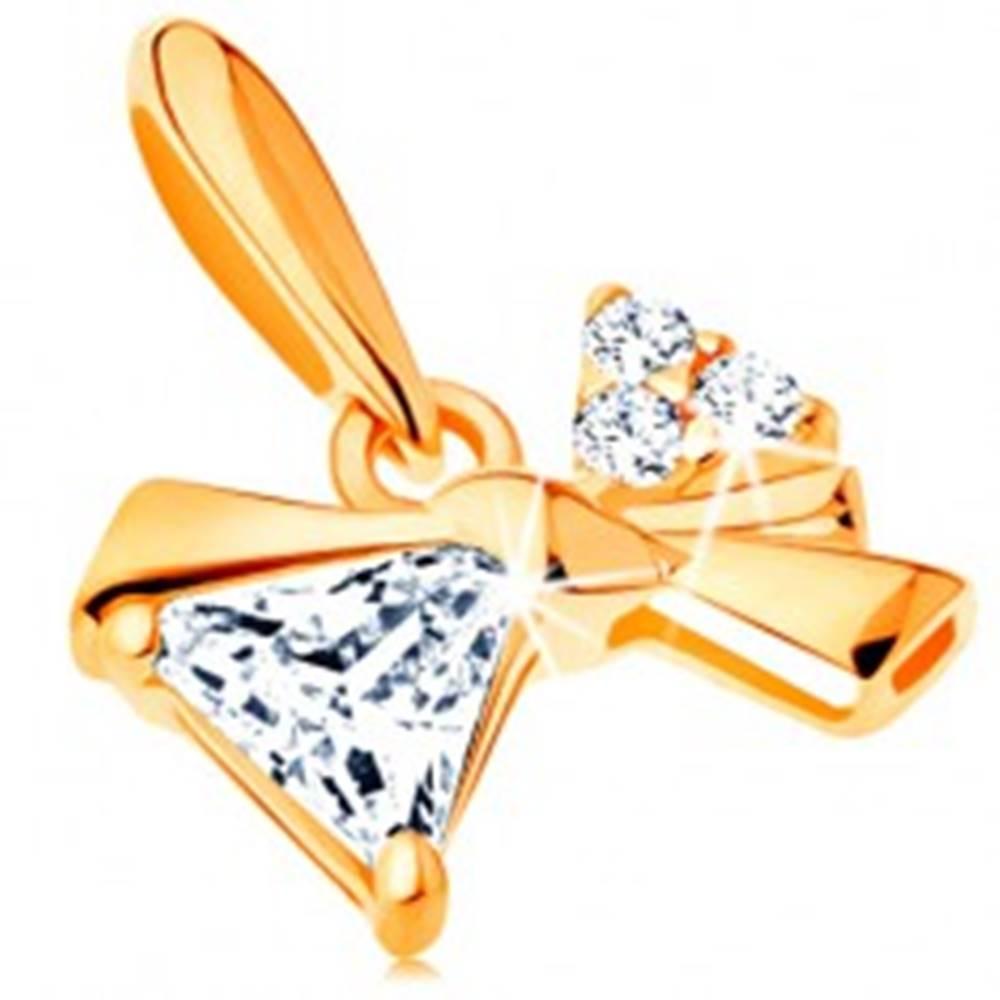 Šperky eshop Prívesok zo žltého 14K zlata - trblietavá asymetrická mašlička so zirkónmi