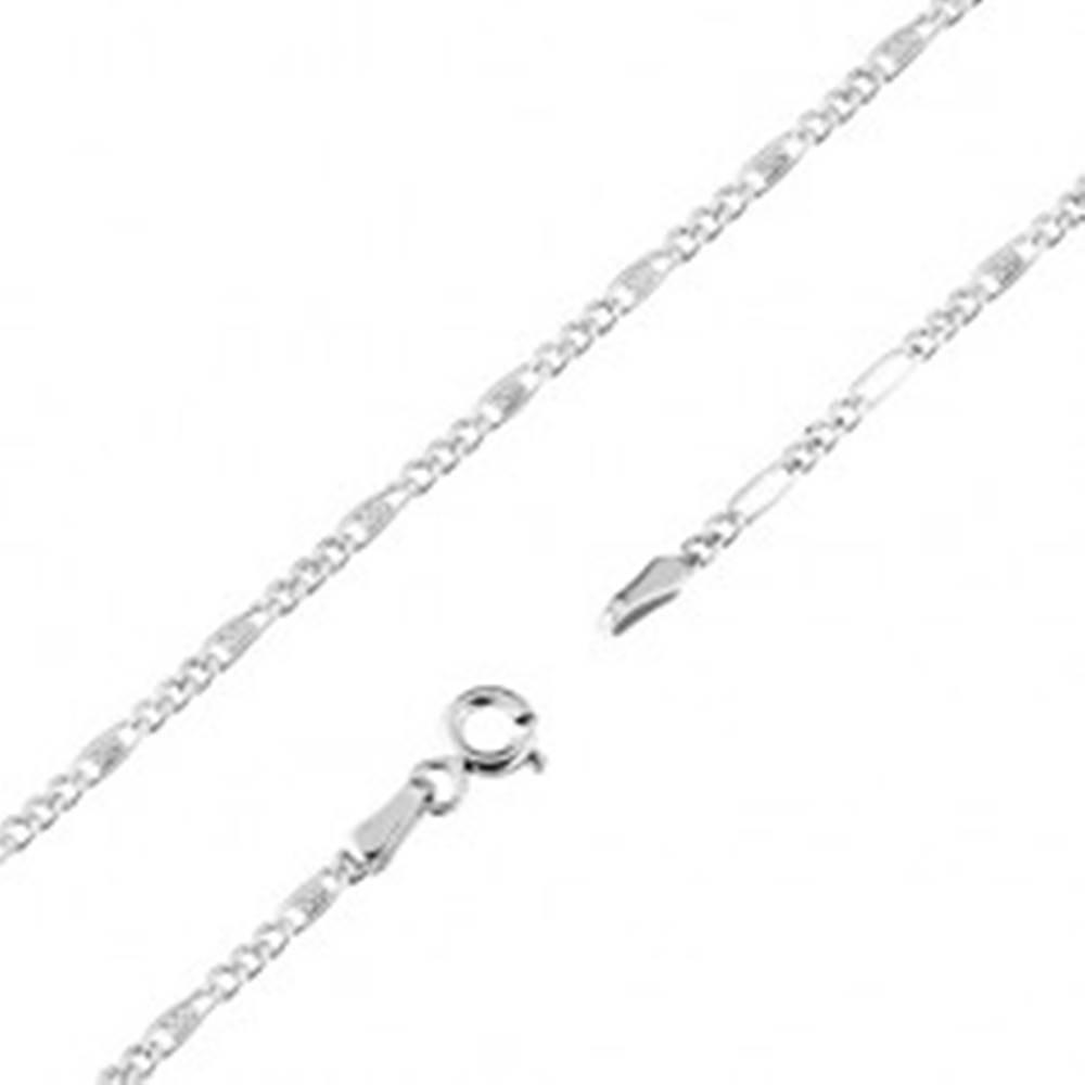 Šperky eshop Retiazka v bielom 9K zlate, tri oválne a jedno podlhovasté očko s mriežkou, 550 mm