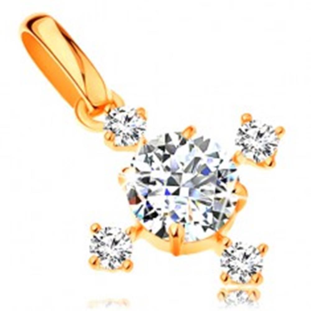 Šperky eshop Zlatý 14K prívesok - ligotavý zirkónový krížik v čírom prevedení