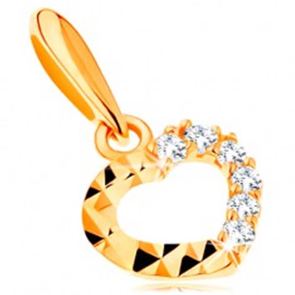 Šperky eshop Zlatý prívesok 585 - ligotavá kontúra srdiečka, číre zirkóny a diamantový rez
