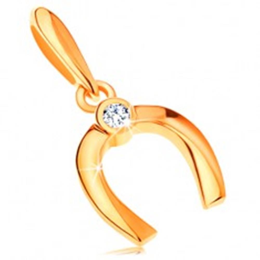 Šperky eshop Zlatý prívesok 585 - malá lesklá podkovička pre šťastie, okrúhly číry zirkón