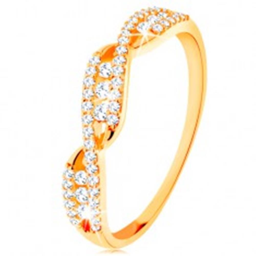 Šperky eshop Zlatý prsteň 585 - prepletené zvlnené ramená, okrúhle číre zirkóny - Veľkosť: 49 mm