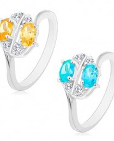 Prsteň s lesklými ramenami zdobený farebnými zirkónovými oválmi a čírymi zirkónikmi - Veľkosť: 53 mm, Farba: Aqua modrá