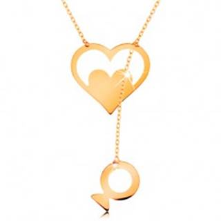 Náhrdelník zo žltého 14K zlata - kontúra srdca so srdiečkom a visiacou rybkou