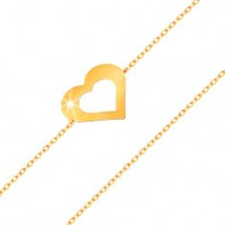 Náramok v žltom 14K zlate - jemná retiazka, plochý obrys srdca, lesklý hladký povrch