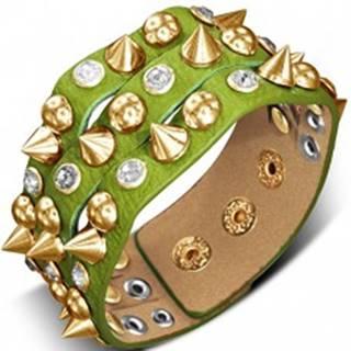 Náramok vyrobený z kože - zelený so špicom, pologuľou a kameňom