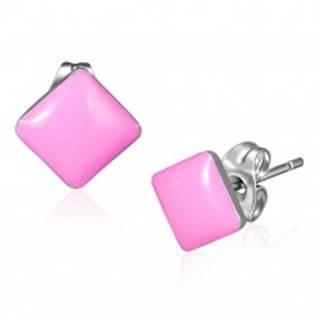 Náušnice z ocele - lesklé ružové štvorcové puzetky