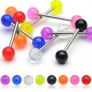 Piercing do jazyka, farebné guličky s trblietkami - Farba piercing: Číra
