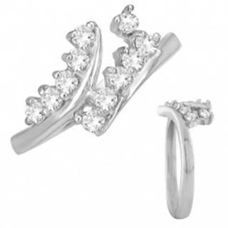 Prsteň z ocele - rozvetvené ramená s čírymi zirkónmi - Veľkosť: 49 mm