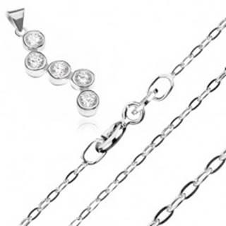 Strieborný náhrdelník 925 - retiazka a prívesok s cik-cak vzorom zo zirkónov