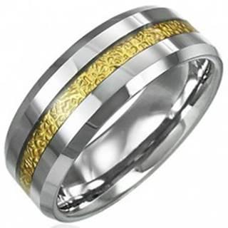 Tungstenový prsteň so vzorovaným pruhom zlatej farby, 8 mm - Veľkosť: 49 mm