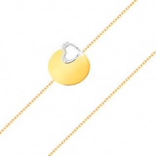 Zlatý 14K náramok - jemná retiazka, lesklý plochý kruh, kontúra srdca z bieleho zlata