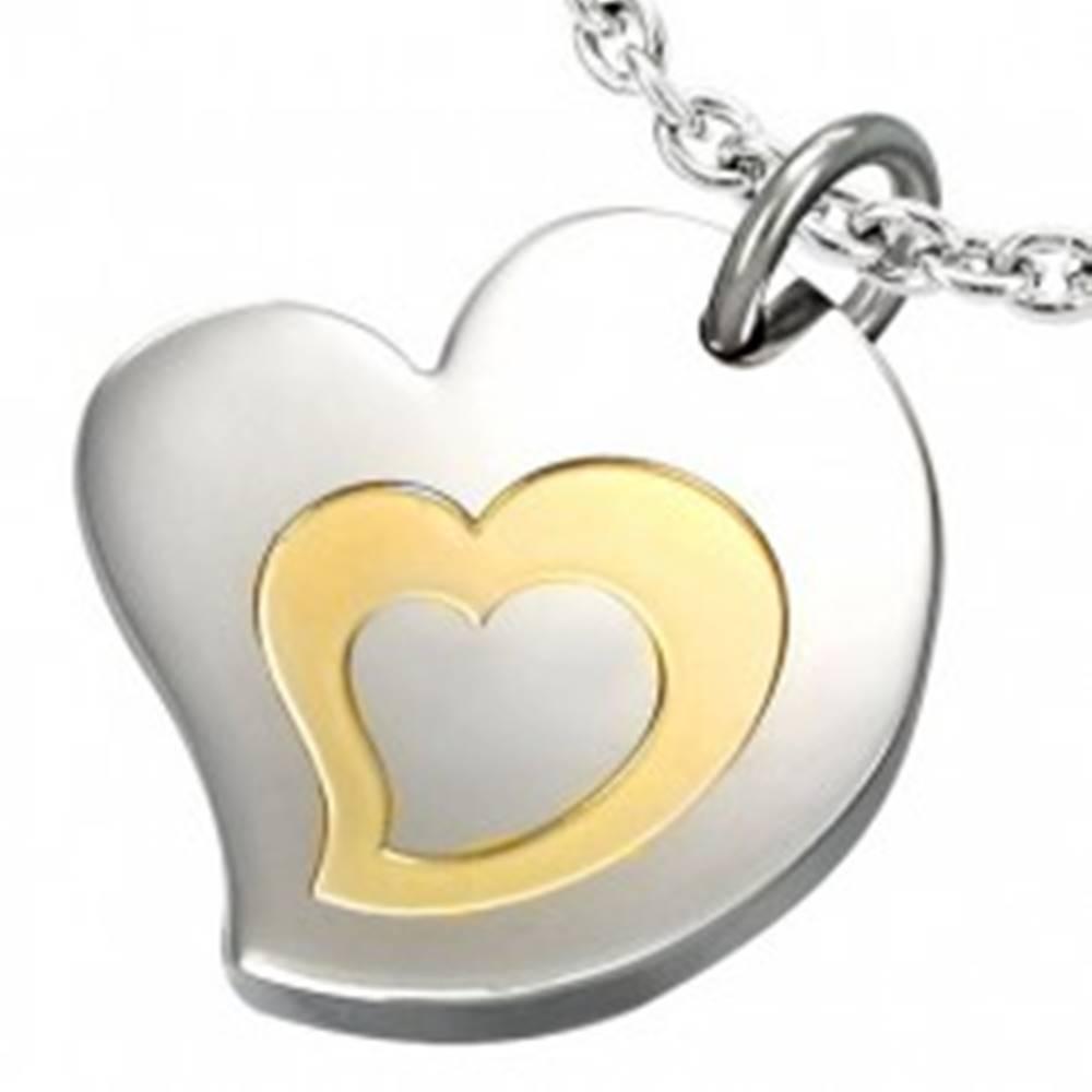 Šperky eshop Dvojfarebný prívesok z chirurgickej ocele, motív - trojité srdce