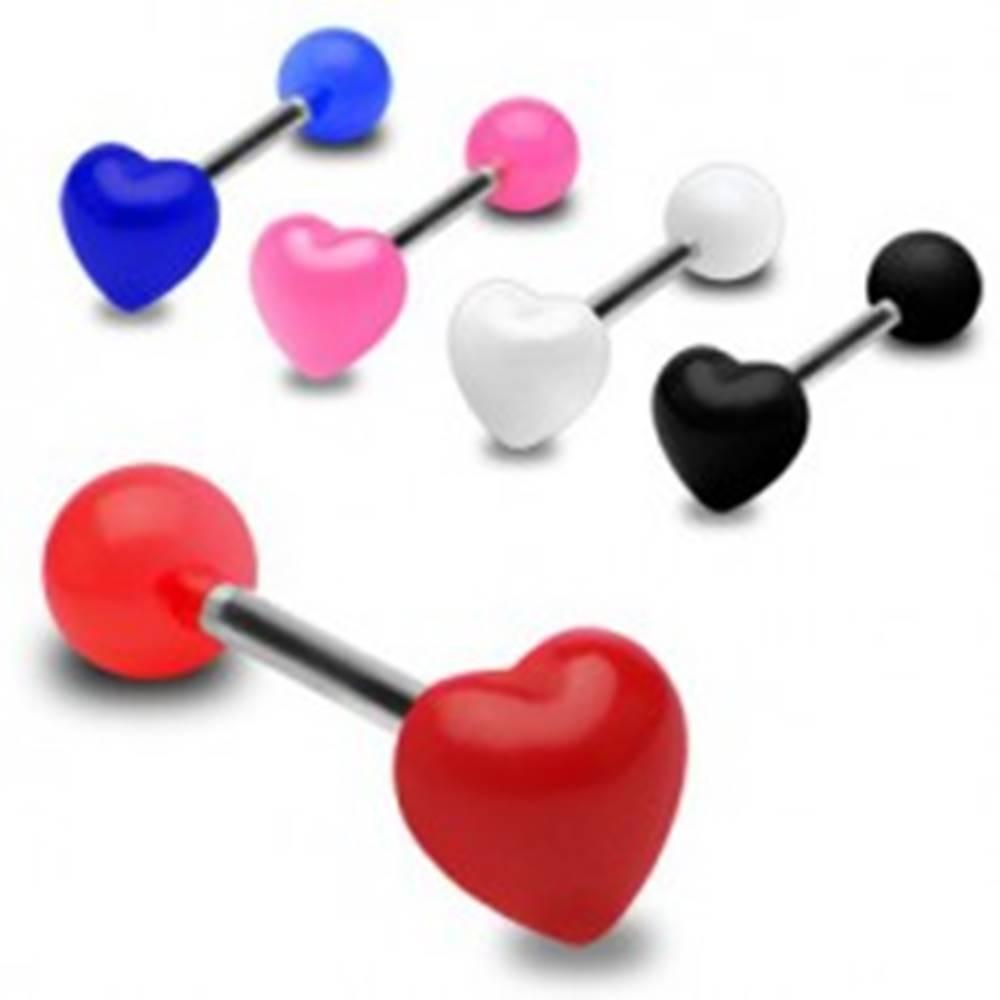Šperky eshop Farebný piercing do jazyka, lesklé súmerné srdce - Farba piercing: Biela