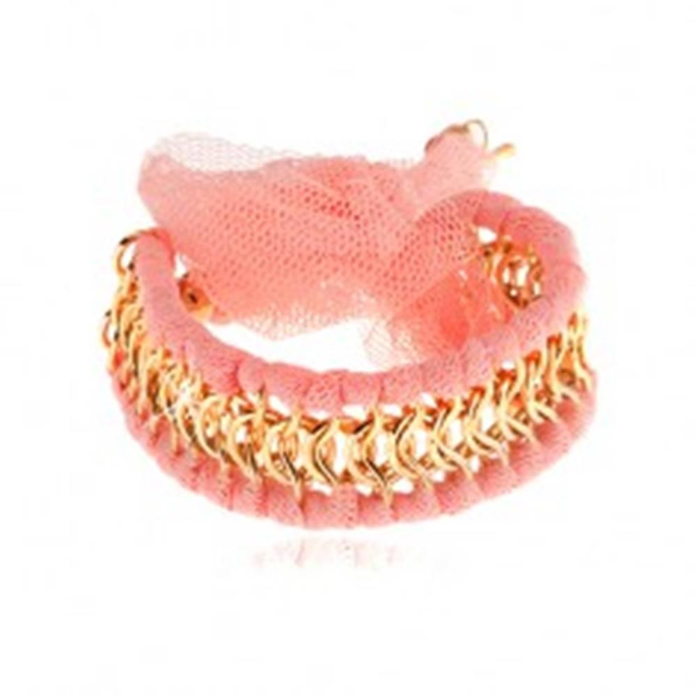Šperky eshop Náramok, prepletené očká zlatej farby, pásiky z ružovej sieťoviny, mašľa