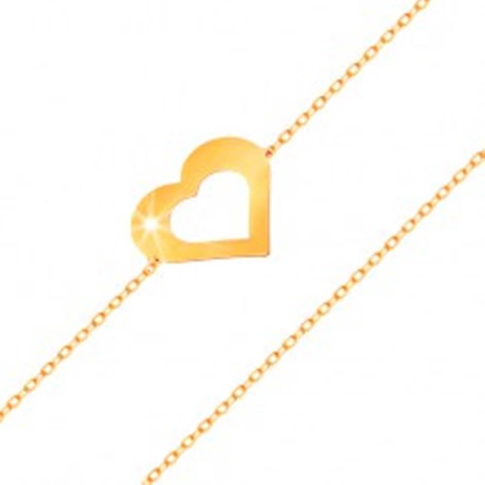 Šperky eshop Náramok v žltom 14K zlate - jemná retiazka, plochý obrys srdca, lesklý hladký povrch