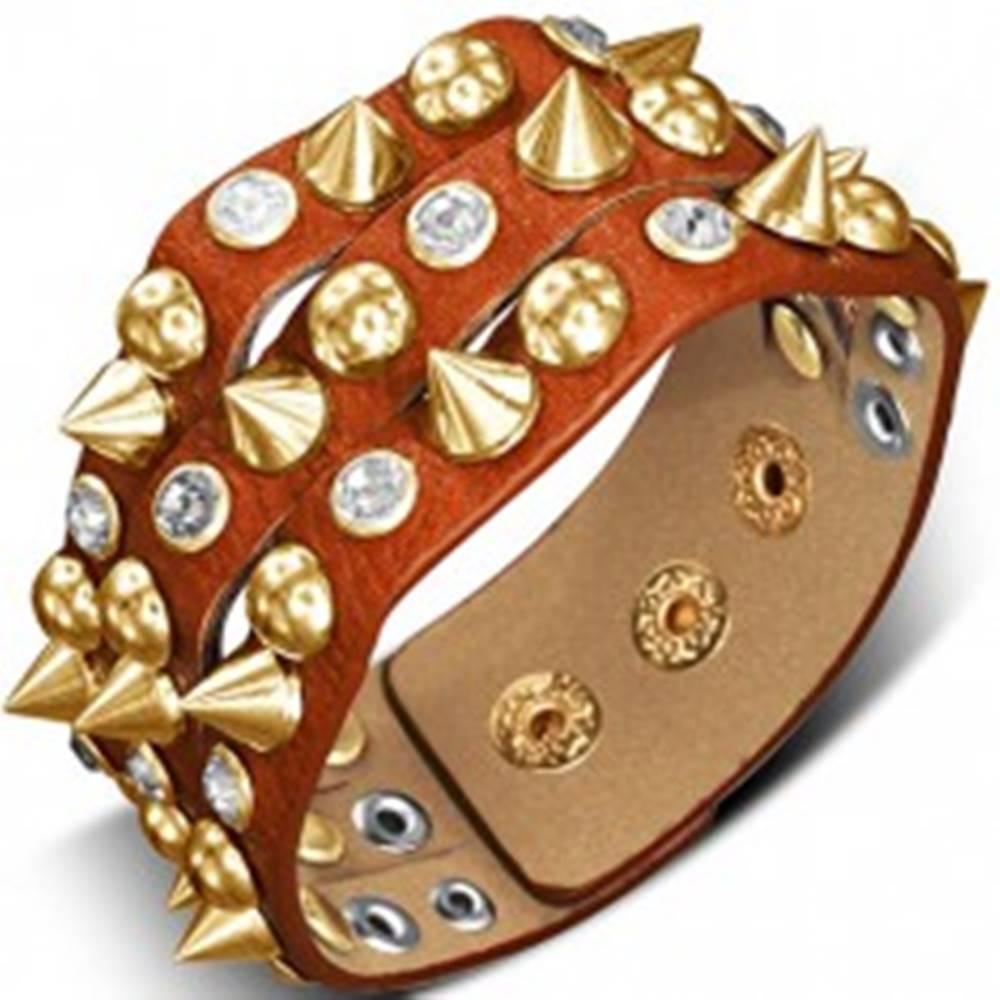 Šperky eshop Náramok z kože - oranžovohnedý so špicom, pologuľou a kameňom