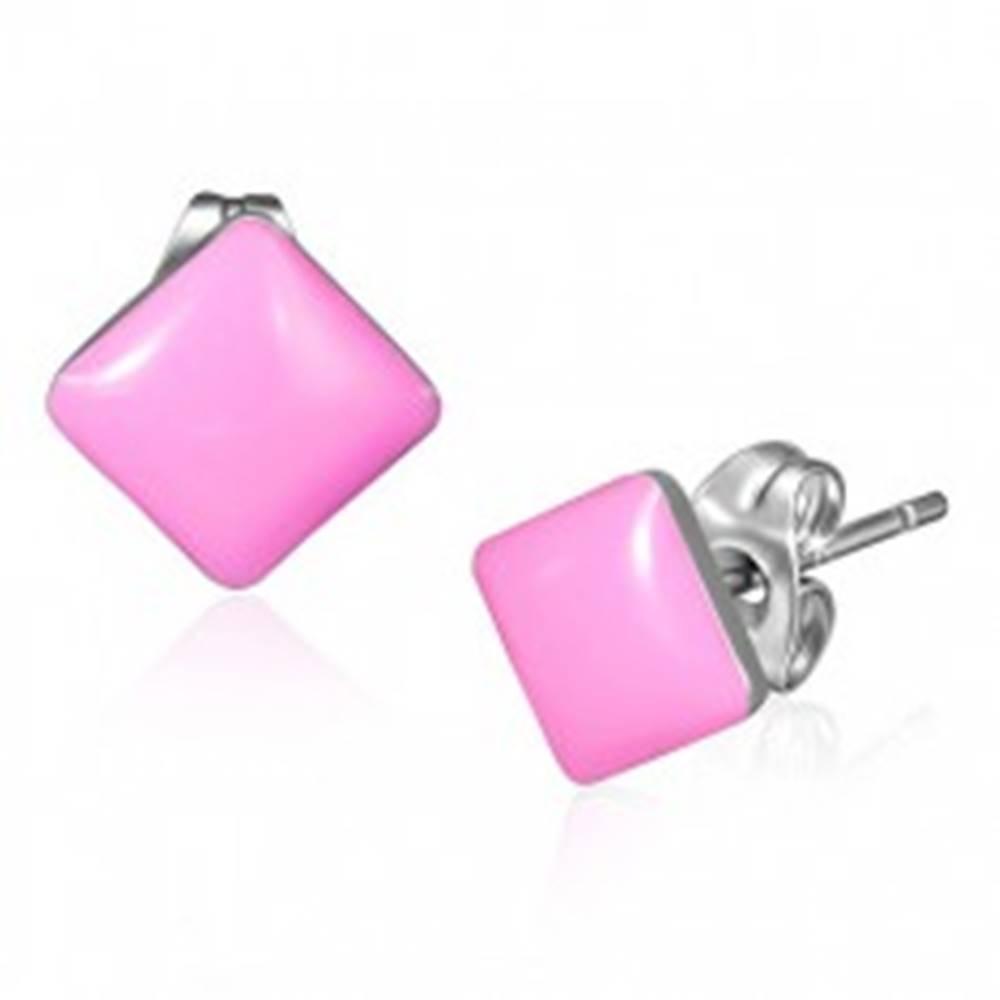 Šperky eshop Náušnice z ocele - lesklé ružové štvorcové puzetky