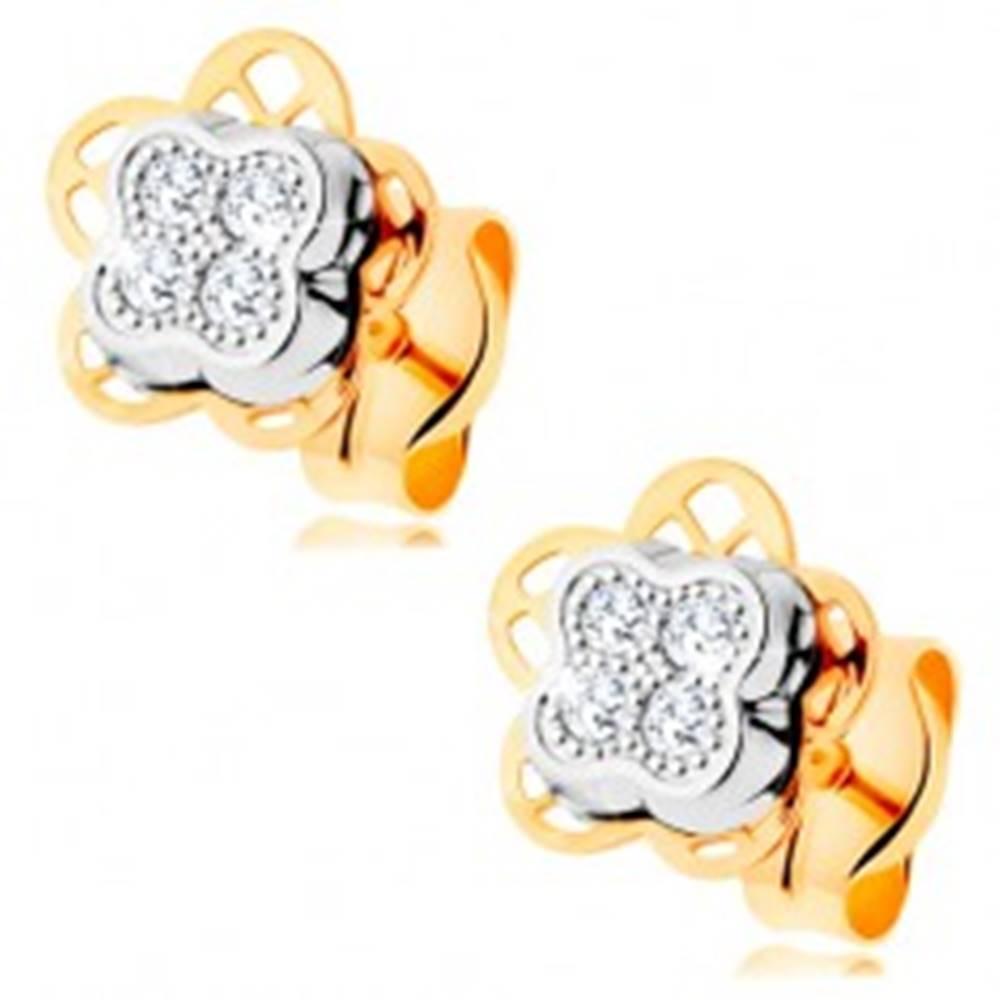 Šperky eshop Náušnice zo 14K zlata - dvojfarebný kvietok s vyrezávanými lupeňmi a zirkónmi