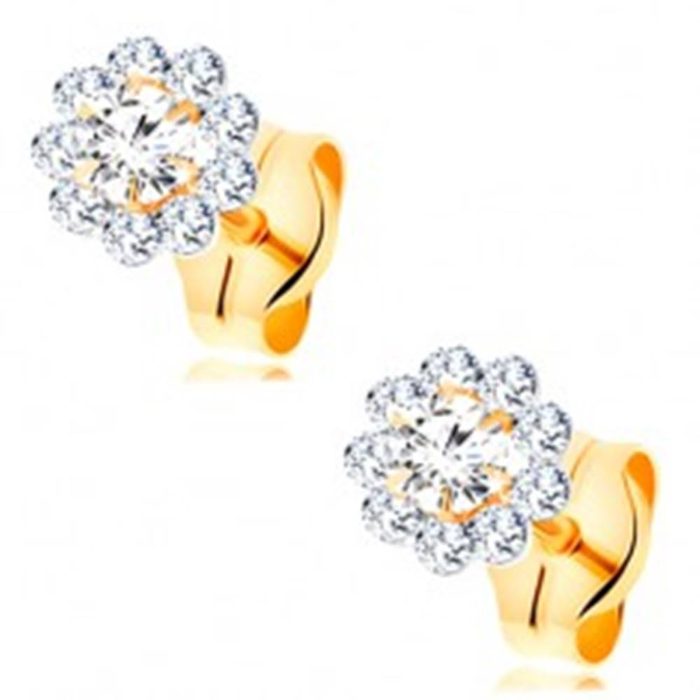 Šperky eshop Náušnice zo žltého 14K zlata - žiarivý kvietok z okrúhlych čírych zirkónov