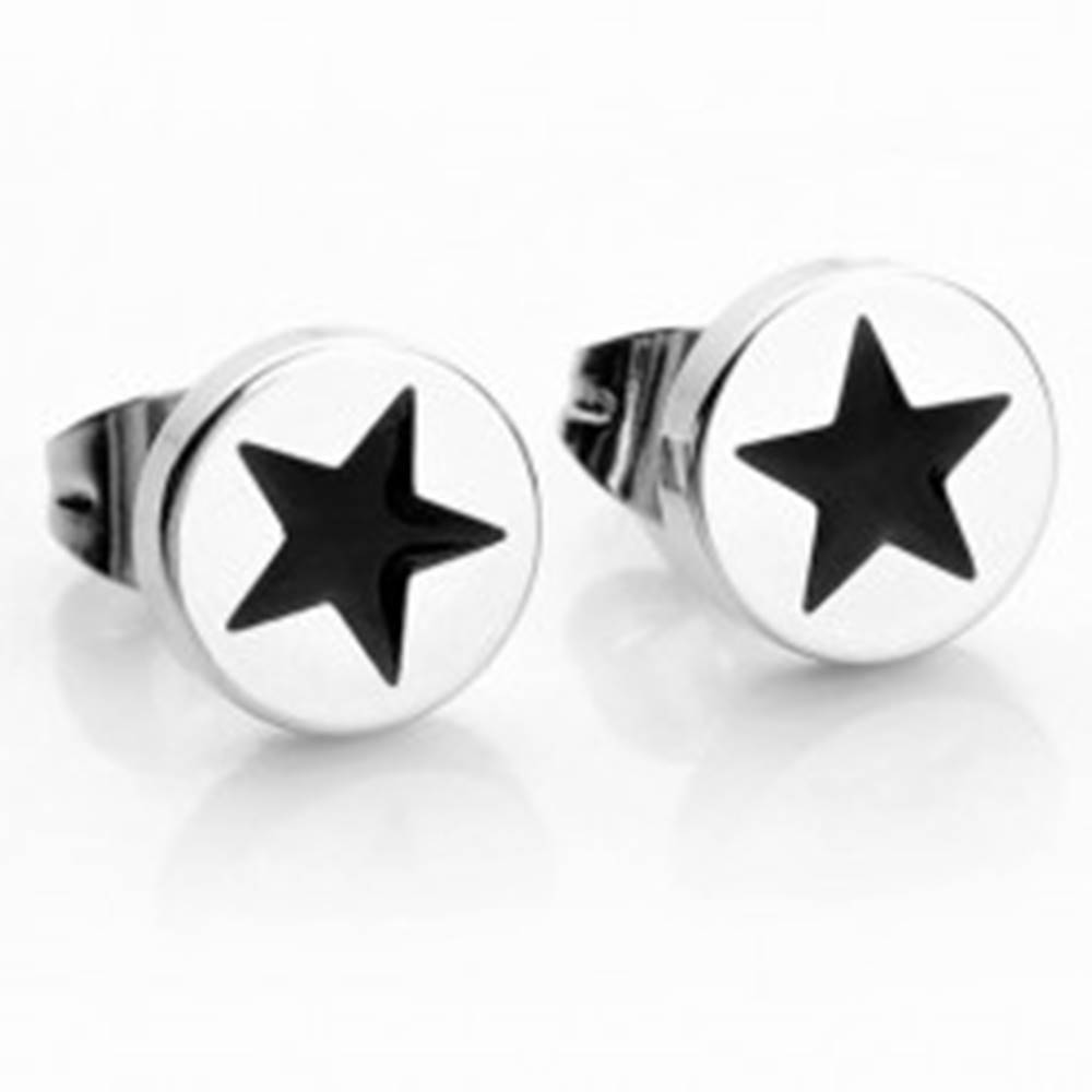 Šperky eshop Okrúhle oceľové náušnice v striebornej farbe, čierna hviezdička