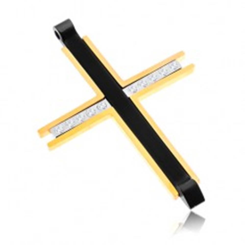 Šperky eshop Prívesok z chirurgickej ocele - trojfarebný kríž s čírymi zirkónmi