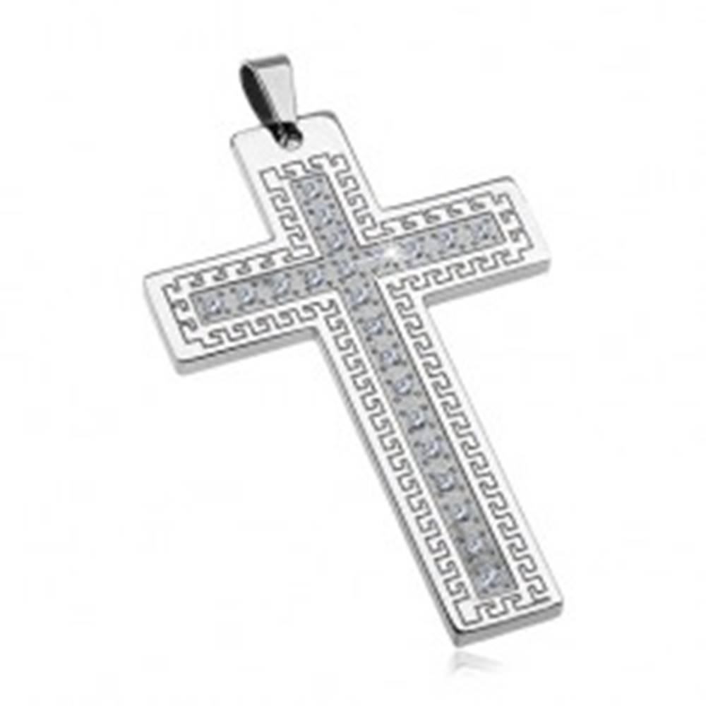 Šperky eshop Prívesok z chirurgickej ocele - veľký kríž so zirkónmi a gréckym kľúčom