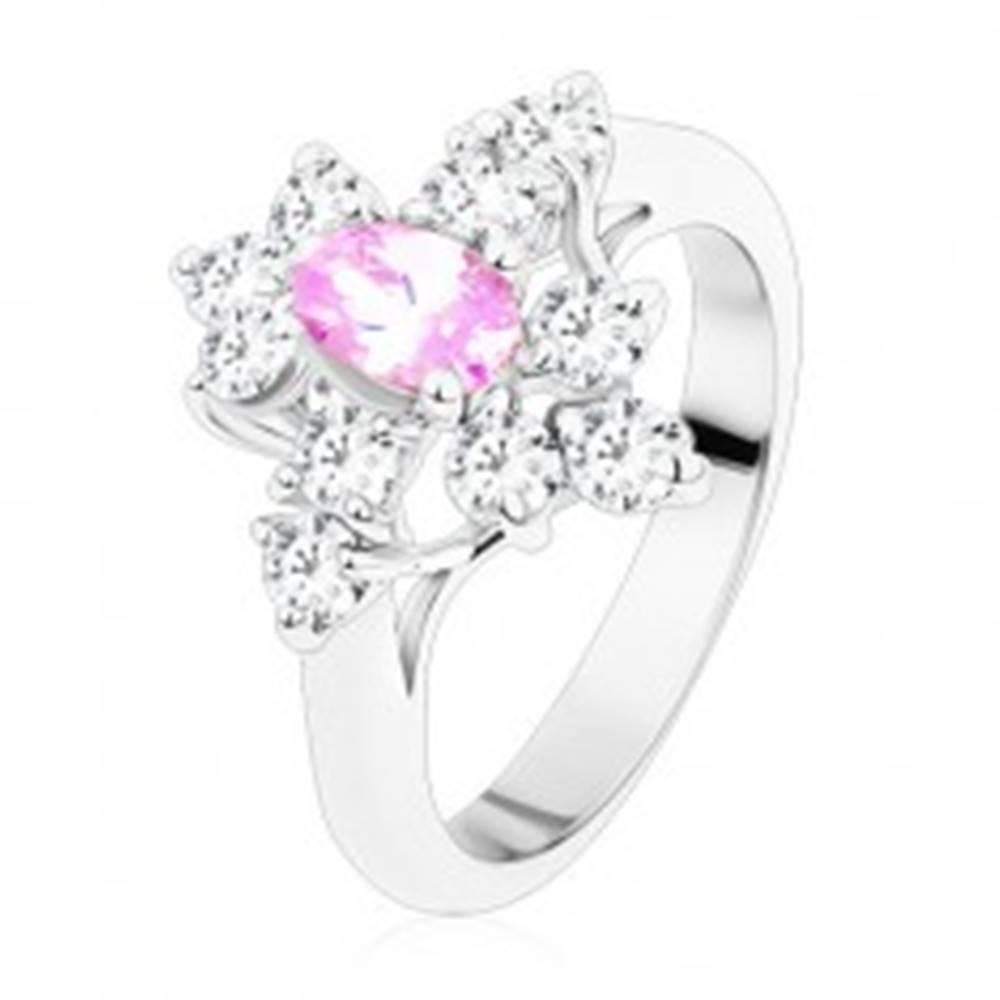 Šperky eshop Prsteň s oválnym zirkónom vo svetlofialovej farbe, zúžené ramená, číre zirkóny - Veľkosť: 54 mm