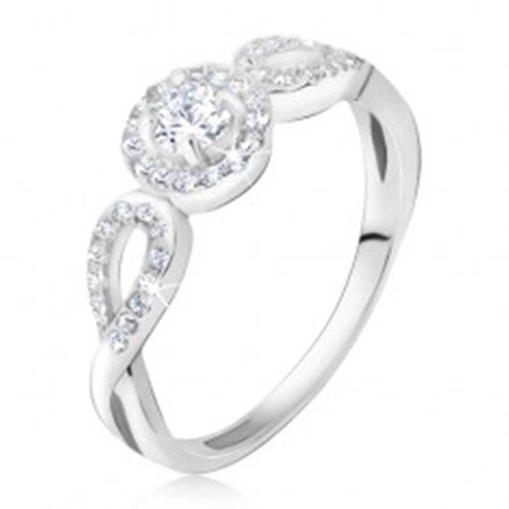 Šperky eshop Prsteň zo striebra 925 - obrys zirkónového kruhu a slzičiek, číry kamienok - Veľkosť: 48 mm