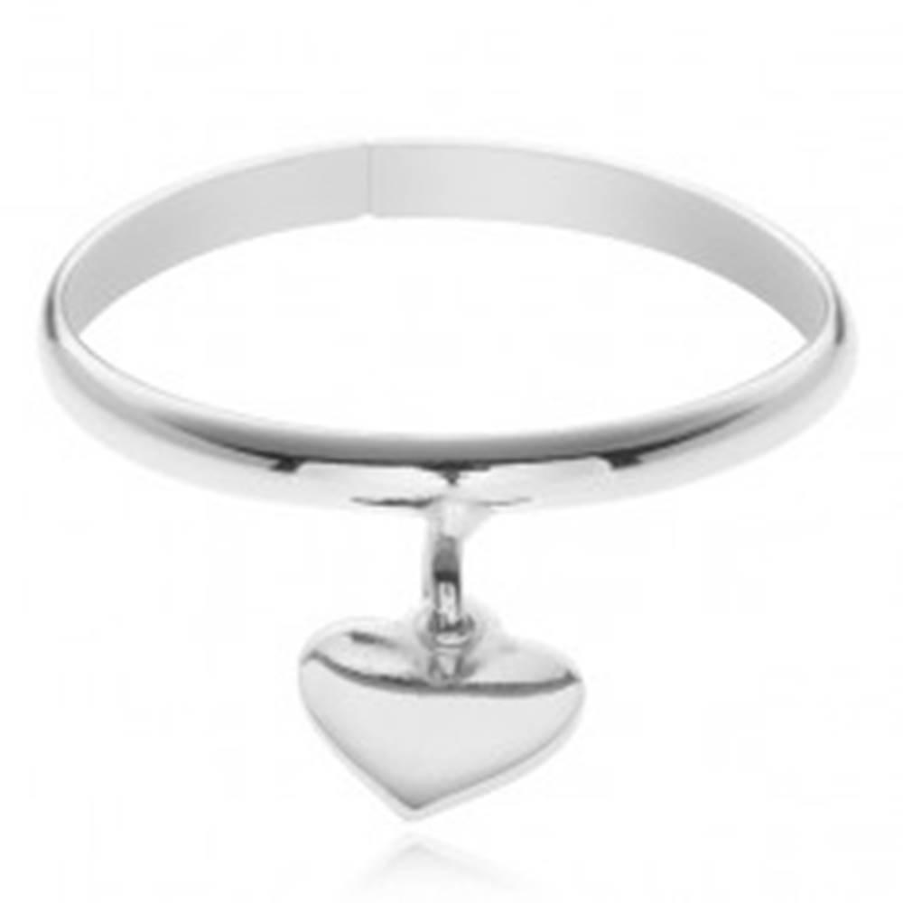 Šperky eshop Prsteň zo striebra 925 - prívesok v tvare srdiečka, nastaviteľný