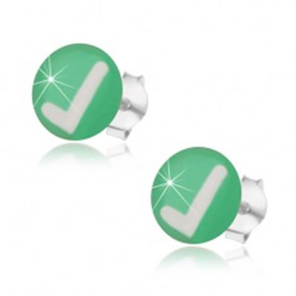 Šperky eshop Puzetové náušnice zo striebra 925, zelené pozadie, biela fajka, glazúra
