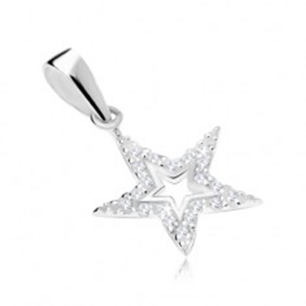 Šperky eshop Strieborný 925 prívesok, kontúra hviezdy zdobená čírymi zirkónmi