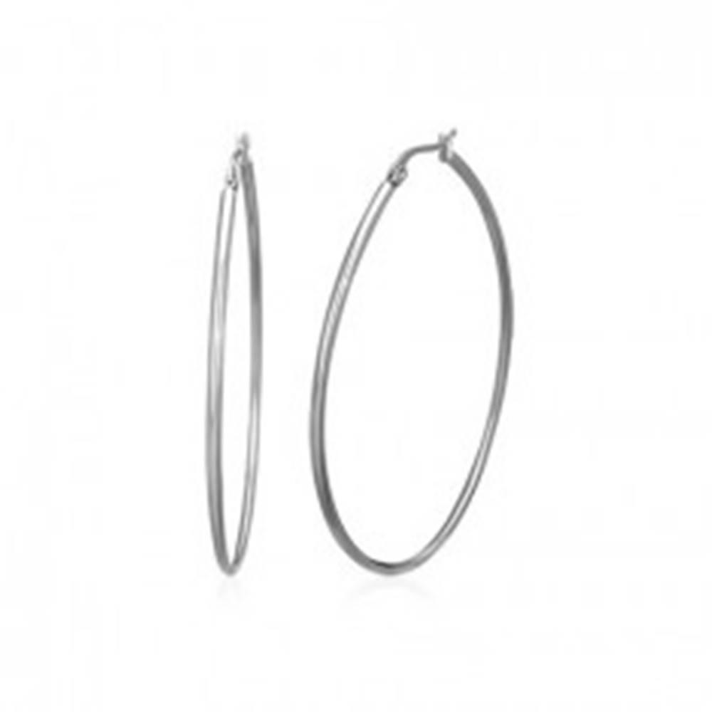 Šperky eshop Väčšie okrúhle náušnice z ocele 316L, strieborná farba, francúzsky zámok