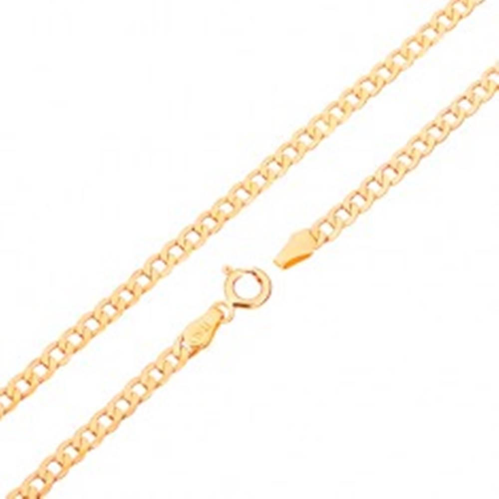 Šperky eshop Zlatá retiazka 375 - ploché oválne očká, vysoký lesk, 450 mm