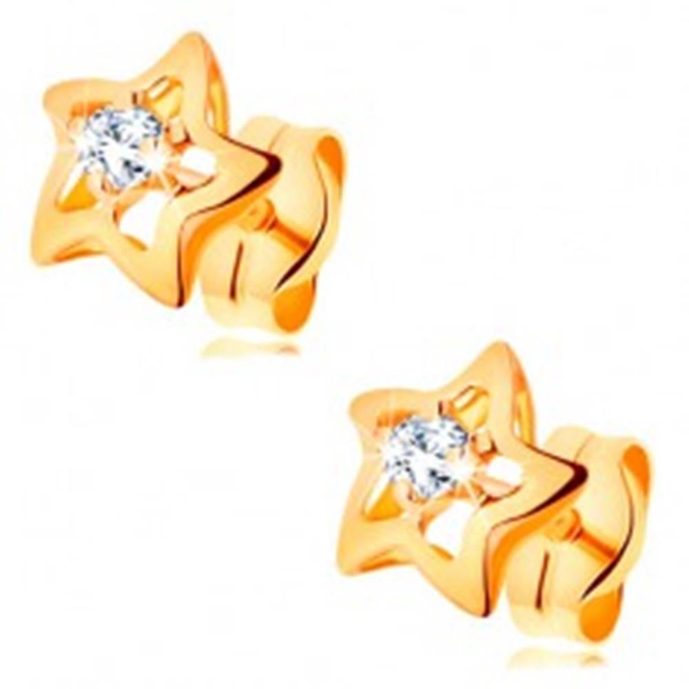 Šperky eshop Zlaté 14K náušnice - ligotavé hviezdičky s čírym zirkónom v strede