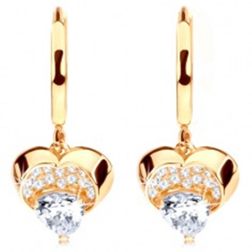 Šperky eshop Zlaté náušnice 585 - krúžok s visiacim ligotavým srdcom, číre zirkóny