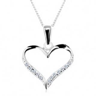 Náhrdelník - retiazka a obrys asymetrického srdca, číre zirkóny, striebro 925