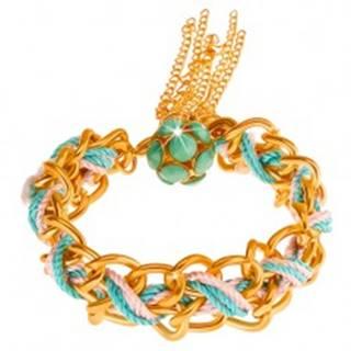 Náramok, dvojitá retiazka, modrá a ružová šnúrka, korálky zelenej farby