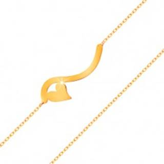 Náramok v žltom 14K zlate - vlnka a malé symetrické srdiečko, jemná retiazka