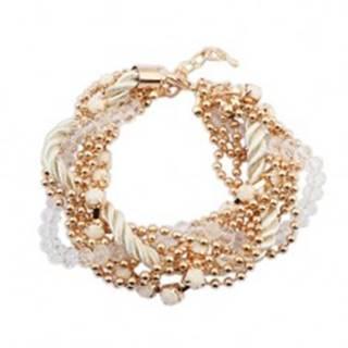 Náramok - zatočená biela špirála zo šnúrok, retiazky zlatej farby, korálky
