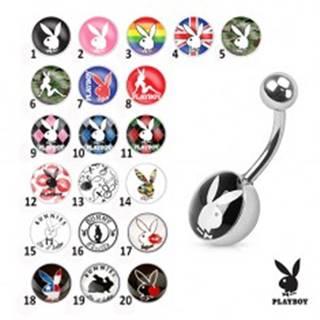 Oceľový piercing do bruška, farebné obrázky zajačikov Playboy - Symbol: PB03